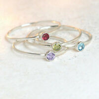 925 Sterling Silver one Stackable Birthstone Gemstone Ring Band Jewelry GT7225