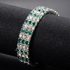 Fashion Womens White Gold Filled Charm 3-rows CZ Tennis Bangle Bracelets
