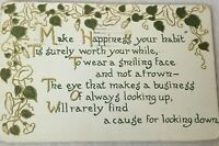 Make Happiness Your Habit Flowers Ivy Green Gold Vintage Postcard 1911 Posted