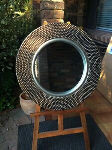 Circular Beaded Design Tarnished Look Silver Mirror 80cm Diameter