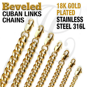 """18K Gold Plated Beveled Cuban Link Stainless Steel 316L Chain Necklace 14""""-48"""""""
