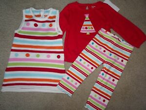 NWT GYMBOREE COZY CUTIE SET 6-12 MONTHS DRESS LEGGINGS TOP HOLIDAY CHRISTMAS