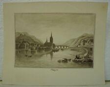 BIEDERMEIER AQUARELL - BLICK AUF BINGEN AM RHEIN - MAINZ WIESBADEN um 1850