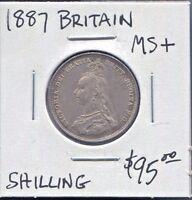 GREAT BRITAIN - FANTASTIC HISTORICAL QV SILVER SHILLING, 1887 KM# 761
