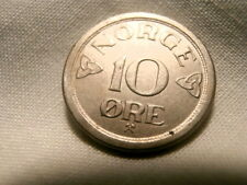 New listing Norway: Scarce 10 Ore 1957 About Uncirculated! (King Haakon Vii )