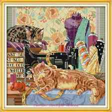Kit broderie point de croix compté,Cross Stitch kit The cat and sewing machine 2