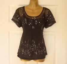 M&Co - Ladies Black Short Sleeved Decorative Top - Size 14