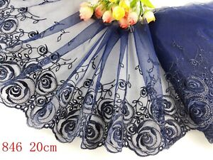 """8""""*1yard Delicate Navy blue Embroidered flower  tulle Lace Trim sewing Craft 846"""