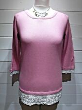 M&Co Jumper ~ Size 10 Petite ~ Pink cream ~ 3/4 Sleeve - Casual ~ 1766