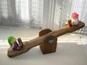 1986 Playskool Wooden See Saw with 2 Figures