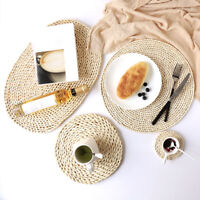 Round Straw Placemat Dining Table Mat Heat Insulation Pad Kitchen Coaster Woven