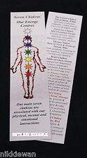"Chakra Bookmark Double Side Image & Information Set of 2 Bookmarks 8"" x 2"" Card"