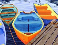 CAPE COD Orange Rowboats Matted Print, Skiffs, Seascape