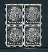 MNH Stamp Block / President Hindenburg 1930s, PF01, Original Third Reich Block