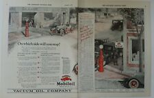 1922 Mobil vacuum oil company Mobiloils red gas pump two page vintage ad