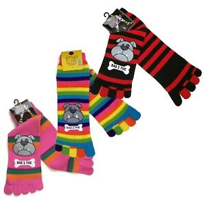 Frogs Plastic-Printed Cozy Striped Toe Socks Sz 9-11 Cute Favourite Gift