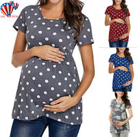 Women Maternity Spotted Short Sleeve Summer Casual T-shirt Tops Pullover Blouse