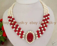 """Natural noblest 3 row white freshwater pearl red coral clasp necklace  17-19"""""""