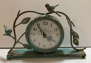 Distressed OLD TOWN Clock~ Metal Stand/Branch w/Birds~Country/Rustic~ Turquoise