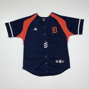 Boys Adidas Detroit Tigers Jersey Size Youth Medium Blue MLB Baseball