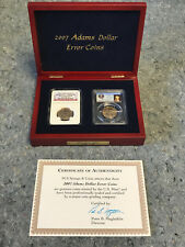 2007-P  2-Coin ERROR SET John Adams Dollars CERTIFIED NGC MS 65/PCGS MS64 w/Box