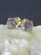 2.00 CARAT 14K SOLID yellow GOLD white zirconia ROUND SHAPE STUD EARRINGS 6.5MM