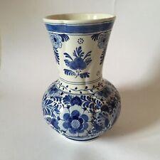 More details for vintage delft de porcelyne fles blue & white vase c.1984 vgc