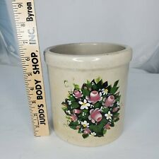 Primitive Vintage Stoneware Crock Hand Painted Roses Farmhouse Utensils Vase