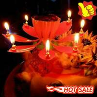 1pcs Lotus Flower Candle Musical Blossom Candles Happy Supply Birthday D1M9