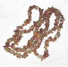 Polished chip carnelian stone bead necklace endless wkx