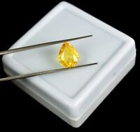 IGL Certified 4.25 Ct 100% Natural Pear Eye Clean Canary Yellow Apatite Gemstone