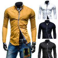 Men's Autumn Casual Formal Slim Button-Down Long Sleeve Dress Shirt Top Blouse