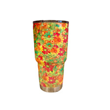 Yeti 30 oz Hydro Dipped Red Pink Green Flowers Print Design