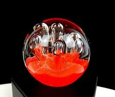 """MURANO ITALY ART GLASS ORANGE FIELD CONTROLLED BUBBLE 2 1/2"""" PAPERWEIGHT"""