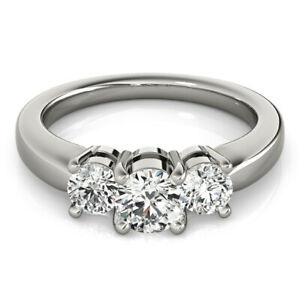 1.00 Ct Moissanite Round Cut White Gold Engagement Ring 14K Solitaire Girl ring