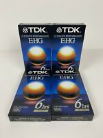 NEW Sealed Lot  of 4  TDK EHG Ultimate Performance 6hrs T-120 Blank VHS Tapes