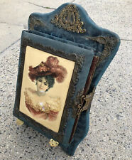 Antique Victorian Celluloid Gibson Girl Portrait Photo Album with Wood Stand