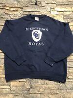 Vtg Georgetown Hoyas Nutmeg Mills Crewneck Sweatshirt Sz L/XL Navy Blue NCAA