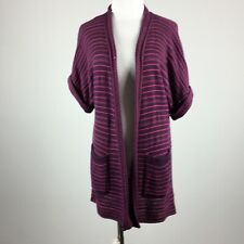 Silence + Noise S Small Cardigan Sweater Open Front Short Slv Striped Pink Mauve