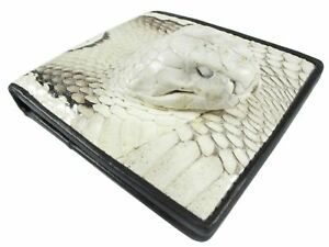 PELGIO Genuine Cobra Snake Skin Leather with Head Soft Bifold ID Wallet Natural