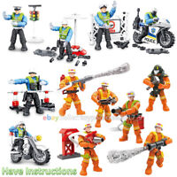 City Fireman Police Set Mini Military Soldiers Army Weapon Figures Mega Blocks