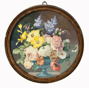 """Antique French Watercolor Painting, Bouquet in Vase Still Life, in Frame, 5.5"""""""