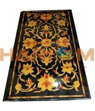 3'x2' Black Marble Dining Table Top Precious Floral Inlay Outdoor Art Decor B582