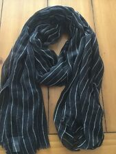 Ralph Lauren Black With White Pinstripes Scarf J9 05