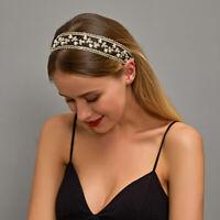 Pearl Women Bridal Hair Accessories Headwear Lace Headband Elastic Hair Band
