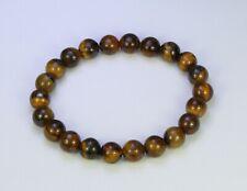 "Tiger's eye natural brown stone 8mm bead elasticated bracelet 7.5"""