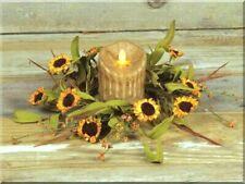 NEW! Beautiful Yellow/Green Festive Autumn Colorful SUNFLOWER Pillar Candle Ring