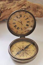 Kompass mit Uhr Messing antik Ø: 8,5 x 10 cm (aufgeklappt)