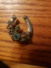 "Lucky Horseshoe 1 1/4"" Brooch! 4106B Stunning Vintage Estate High End Rhinestone"