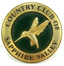 Country Club Of Sapphire Valley Round Wooden Plaque Hummingbird 7 Inches Golf